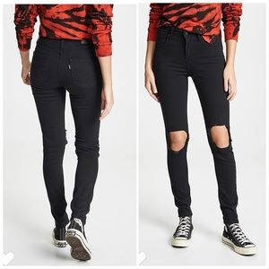 Levi's 721 High Rise Skinny Ripped Knee Jeans 32